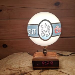 Vintage Coors Light Globe Lamp Digital Clock